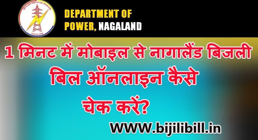 नागालैंड बिजली बिल ऑनलाइन कैसे चेक करें